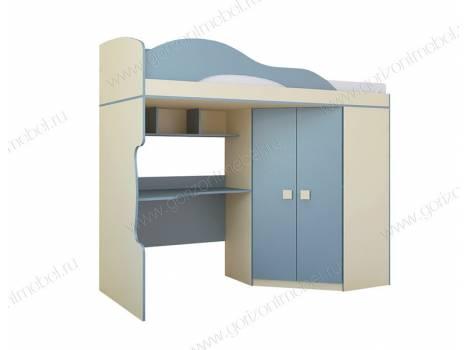 """Кровать чердак со шкафом """"Радуга"""""""
